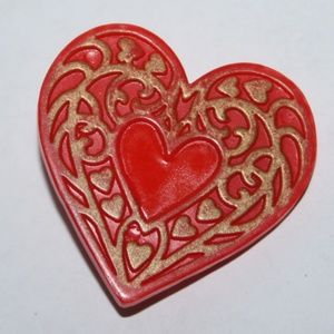 Vintage red and gold heart brooch